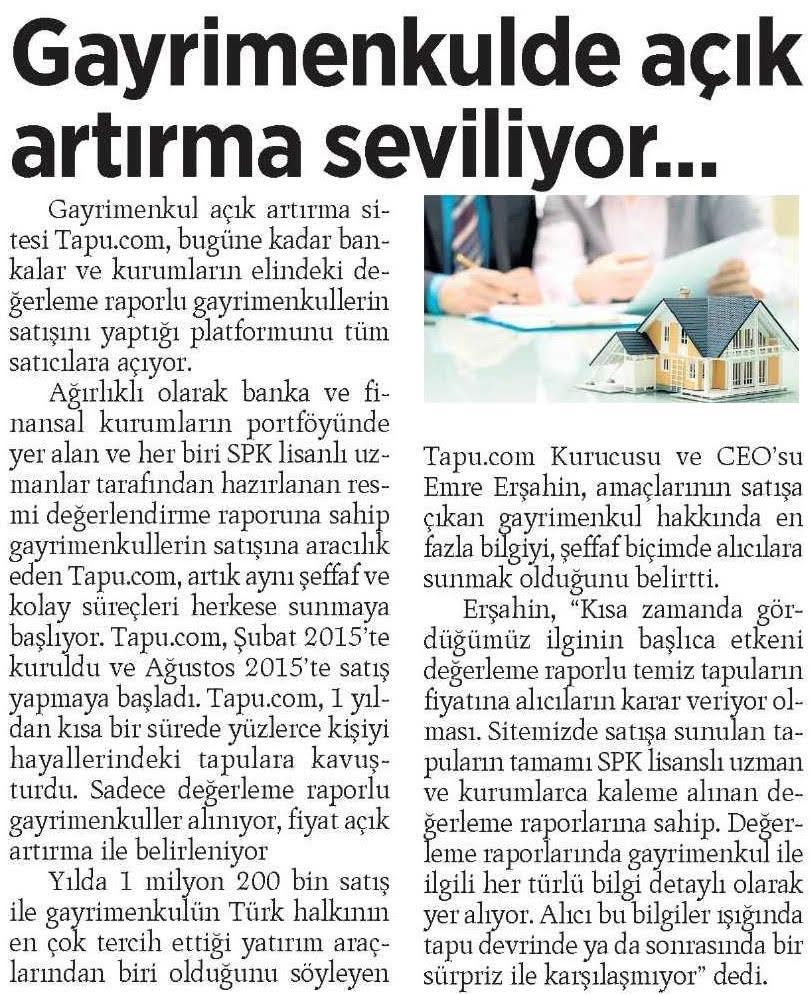 Tapu.com Milliyet Gazetesi'nde